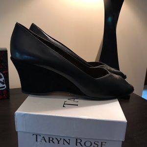 Taryn Rose Black Leather Peep Toe Wedge Size 41.5